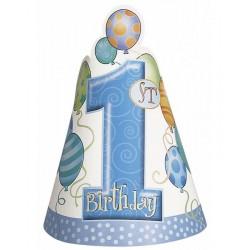 Feesthoedjes eerste verjaardag balloons blauw