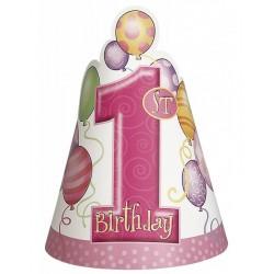 Feesthoedjes eerste verjaardag balloons roze