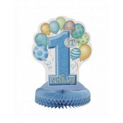 Tafeldecoratie eerste verjaardag balloons blauw
