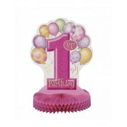 Tafeldecoratie eerste verjaardag balloons roze