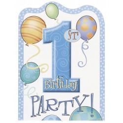 Uitnodigingen eerste verjaardag balloons blauw