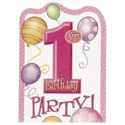 Uitnodigingen eerste verjaardag balloons roze