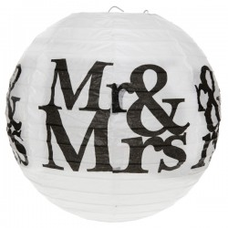 Twee bolvormige lampionnen Mr & Mrs black and white