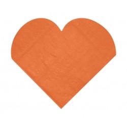 Pak met 20 hartvormige servetten oranje