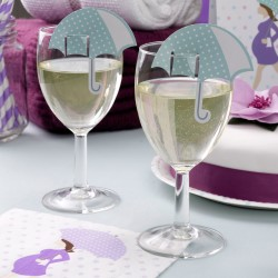Pak met 10 plaatskaarten c.q. glasdecoraties Babyshower Purple