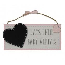 Aftelbord voor de uitgerekende datum van de baby