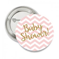 Button Babyshower roze met goud