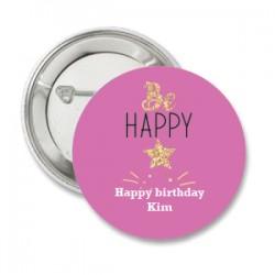 Button Be Happy roze met gouden ster