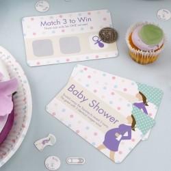 Kraskaart spel met 10 kaarten Babyshower Purple