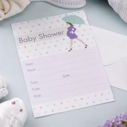 Pak met 10 uitnodigingen Babyshower Purple