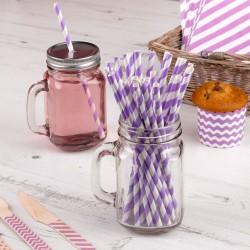 Pak met 25 paars met wit gestreepte rietjes Babyshower Purple
