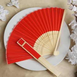 Bamboe waaier rood