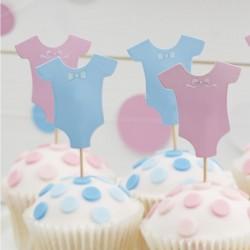 Pak met 12 cupcake prikkers uit de Little Lady or Mini Mister collectie