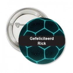 Button voetbal blauw met zwarte tekstvlak voor eigen tekst