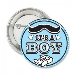 Button It's a Boy moustache