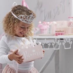 Pak 5 zacht roze traktatie doosjes Princess tiara