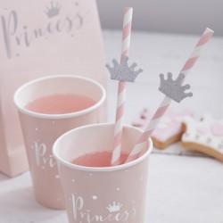 Pak met 16 wit/roze rietjes met zilveren glitter tiara Princess Perfection