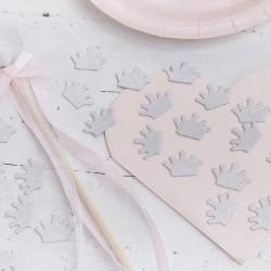 Zakje met 14 gram tafelconfetti zilveren glitter kroontjes