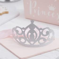 Pak met 5 zilveren glitter tiara's