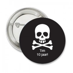 Button Piraat zwart met wit met eigen tekst