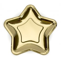 Pak met 6 metallic gouden stervormige bordjes