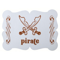 Pak met 6 kartonnen placemats Piraten party blauw
