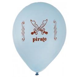 Pak met 8 ballonnen Piraten party blauw