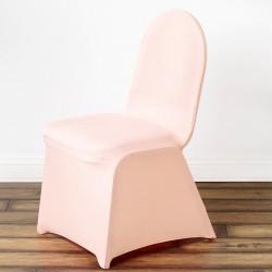 Stretch stoelhoes voor stoelen met een ronde bovenkant blush