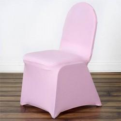 Stretch stoelhoes voor stoelen met een ronde bovenkant licht roze