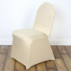 Stretch stoelhoes voor stoelen met een ronde bovenkant champagne