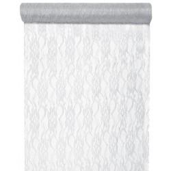 Prachtige kanten tafelloper van 28 cm breed en 5 meter lang zilverkleurig