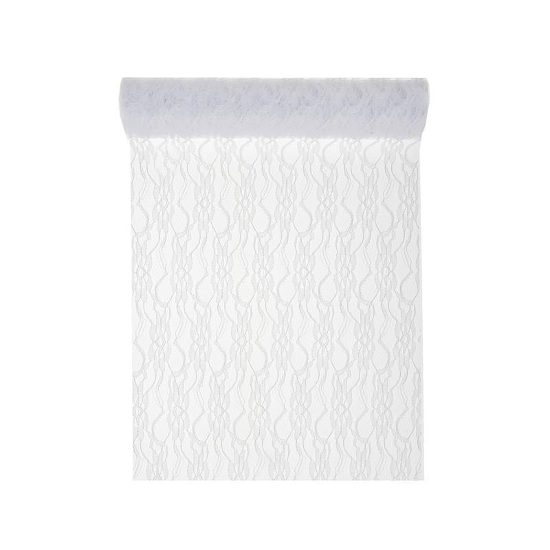 Prachtige kanten tafelloper wit van 30 cm breed en 5 meter for Ladenblok 30 cm breed