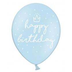 Ballonnen Happy Birthday blauw 30 cm extra sterk voor helium of lucht per 6, 12 of 50 stuks