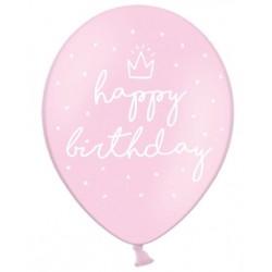 Ballonnen Happy Birthday roze 30 cm extra sterk voor helium of lucht per 6, 12 of 50 stuks