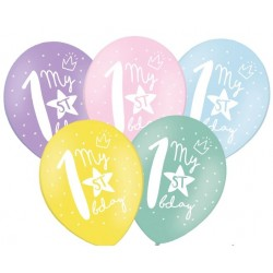 Ballonnen My 1st Birthday pastelmix 30 cm extra sterk voor helium of lucht per 5 stuks
