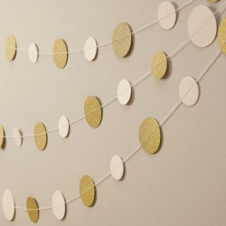 Ivoor met sparkling gouden rondjes slinger Metallic Perfection