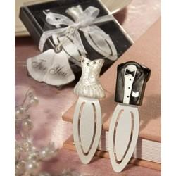 Luxe verpakte set bladzijdewijzers bruid en bruidegom met een bedankkaartje
