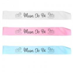 Leuke blauwe, roze of witte sjerp met in zwart de tekst Mum to Be en 2 hobbelpaardjes