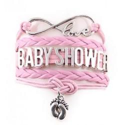 Hele leuke en trendy armband met infinity teken, babyvoetjes en de tekst Babyshower
