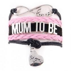 Hele leuke en trendy armband met infinity teken, hartje en de tekst Mum to be