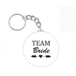 Sleutelhanger Team Bride Tribe of eigen tekst wit
