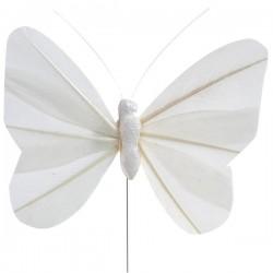 Pak met 6 decoratieve vlinders op ijzerdraad wit