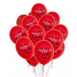 Ballonnen Team Bride Tribe rood met zwarte tekst