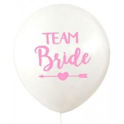 Ballonnen Team Bride Tribe wit met roze tekst