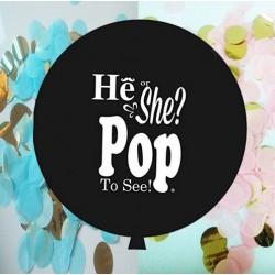 He or She Pop to See zwarte reuzenballon met witte tekst