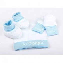 Driedelig babysetje Ik hou van papa wit met blauw