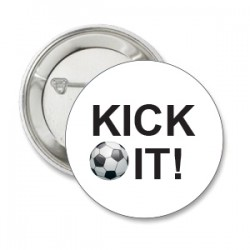Button voetbal KICK IT wit
