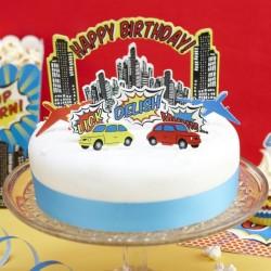 Happy Birthday Taartdecoratie set Super Hero Pop Art 11-delig