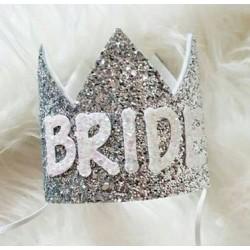 Chic en trendy glitterkroontje Bride zilver