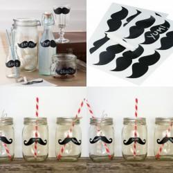 Pak met 12 herbruikbare stickers Moustache met een krijtbord effect